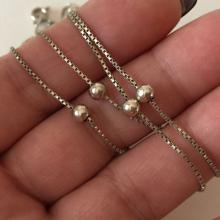 Sterling silver box chain and round shaped sterling silver 4.5 mm in diameter balls necklace