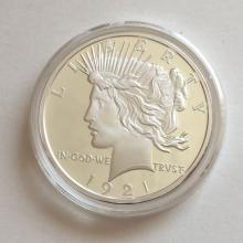 Reproduction of Peace Silver Dollar Proof dated 1921