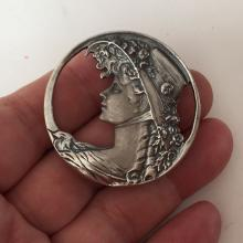 Sterling silver antique finish satin and shiny finish round shaped brooch / pendant with LADY IN HAT PROFILE inside