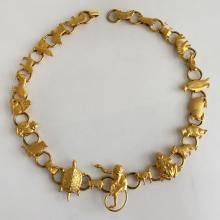 Gold plated satin finish necklace with different animals shaped links
