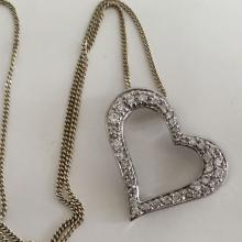 Vintage sterling silver Cuban link chain with sliding HEART shaped pedant with pave set CZ