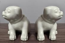 Fitz and Floyd: Vintage white ceramic Puppy Pugs Dogs figurines