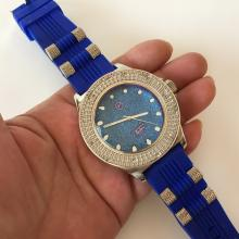 Silver tone round huge TECHO PAVE Quartz watch with royal blue color rubber band