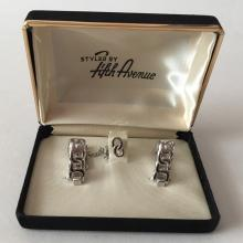 STYLED BY FIFTH AVENUE: Silver tone shiny finish Chain links triangle shaped cufflinks and matching 2 Chain links tie pin in original box, signed