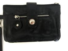 Hand flat bag from man made material looks like black leather with c/c holder inside, 2 zips, magnetic closure and handle
