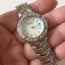 Stainless steel matt finish round FOSSIL BLUE 100 meters Date crystals bezel ladies watch with matching bracelet