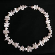 Genuine white Biwa and round freshwater pearl necklace with sterling silver lobster clasp
