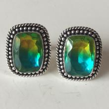 Silver color black antique finish bi color (yellow and teal) Quartz cushion shaped cufflinks