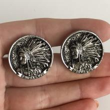 Vintage silver tone black antique finish round cufflinks with Native American Men Head signed on bottom