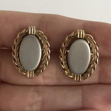 SWANK: Vintage matt and shiny finish gold plated and silver tone oval heavy cufflinks, signed