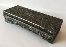 GODINGER: Vintage silver tone oxidized and embellished from all sides metal rectangular 4 legs box trinket with mirror inside, signed
