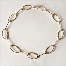 Vintage sterling silver hand made oval links necklace