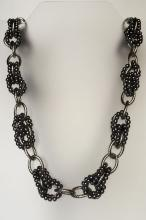 Silver tone long links chain with small black round faux pearls necklace with lobster claw clasp, signed LOFT