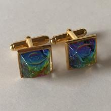 Sterling silver gold plated cufflinks with square Preciosa Vitrail dome glass etched