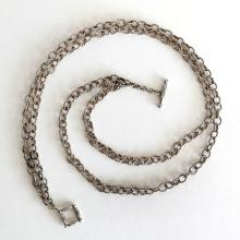 Vintage sterling silver 2 strands twisted oval links chain necklace, signed AM KING