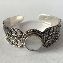 Vintage sterling silver cuff bracelet with round white mother of pearl in the front