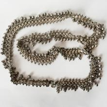 P.B.: Vintage / antique? old silver dangling jangle ball-bells no clasp necklace (or belt?) with small duck design in each link, signed