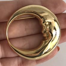 Gold plated HALF MOON shaped brooch