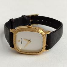 Gold plated textured cushion shape BULOVA #9 Swiss watch with genuine original leather strap