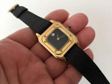 Gold plated square GENEVE 17 jewels ladies back dial diamond screws on bezel watch with genuine new leather strap