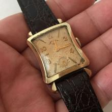 14k gold filled square LORD ELGIN Chrono ladies watch with genuine new leather strap