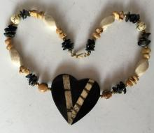 Genuine stone and wood beads necklace with heart shape pendant