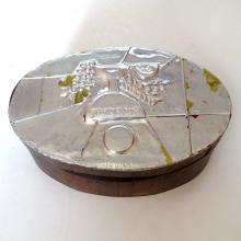 Vintage silver tone top wooden oval shape light box trinket