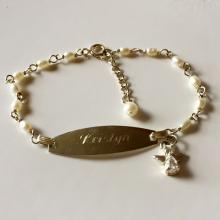 Sterling silver chain, genuine white rice pearls and ID plate with engraved name