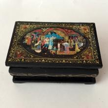 Hand made black wooden lacquered jewelry box trinket, made in Russia