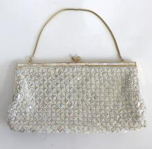 Ladies white smll beads evening purse embelished with genuine mother or pearl inlays, gold plated snake chain handle