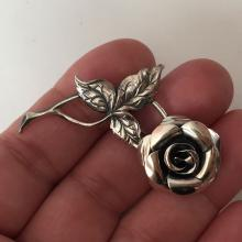 BEAU: Sterling silver antique finish very detailed ROSE shaped brooch, signed