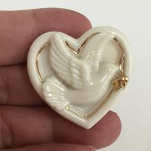 LENOX: Handcrafted HEART WITH DOVE inside brooch with gold embellishments, signed