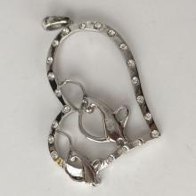 Silver tone open heart shape with 2 CATS pendant with white rhinestones pendant