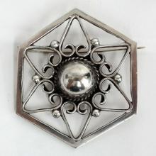 Vintage sterling finish oxidized hexagon shape brooch