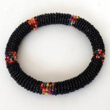 Vintage Native American multicor beaded bangle bracelet, no clasp