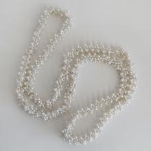 Vintage round braided white faux pearls necklace, no clasp