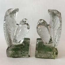Vintage pair of BOOK ENDS clear glass FAN TAILED DOVE shaped figurines