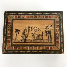 Vintage Moroccan? wooden box trinket embellished by color mosaic inlays from sides and on top and picture of Bedouin with Camels and Palms