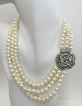 Three strands white round faux pearl necklace with silver tone white rhinestones rose brooch from side