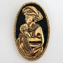 Gold plated oval pin brooch LADY WITH CHILD with black enamel, signed AVON