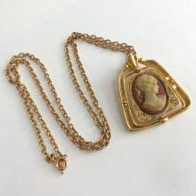 AVON: Gold plated textured chain, signed Avon and gold plated embellished from both sides reversible CAMEO / CROSS pendant, signed J.J.