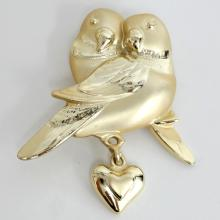 Gold plated satin and shiny finish 2 BIRDS shape pin brooch with dangling heart shape charm