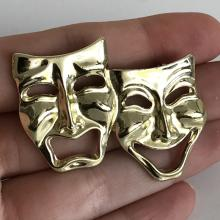 Gold tone THEATER MASKS (Smile now, cry later
