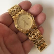 Gold plated stainless steel round slim WITTNAUER Laureate Swiss Quartz Date 11B03 watch with matching gold plated stainless steel bracelet
