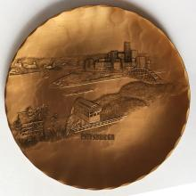 Wendell August Forge: Vintage handmade solid hammered finish bronze round plate Pittsburgh incline and view, signed
