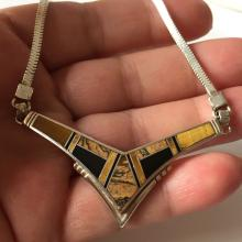 SS: Sterling silver with tiger eye and black onyx inlays in V shaped part and flat snake chain high quality necklace, signed