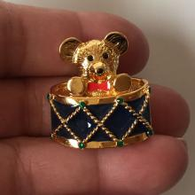 MONET: Gold tone BEAR brooch with multi color enamel, signed