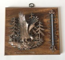 Vintage wall wooden plate with EAGLE and thermometer