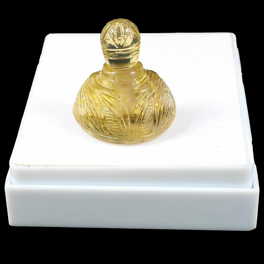 Natural lemon citrine hand carved perfume oil bottle, weight 270.35 cts
