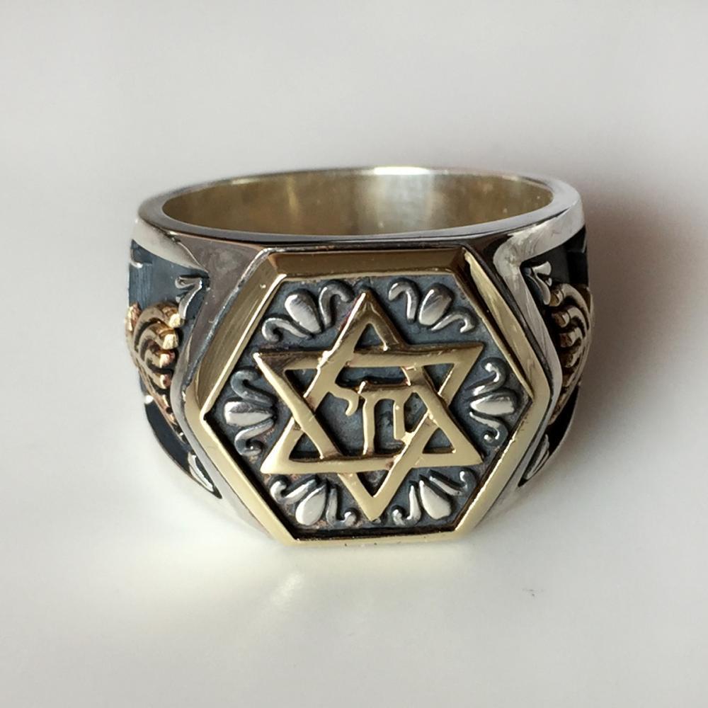 Jewish symbols ring 14k gold sterling silver ring Star of David Chai Menorah, size 11